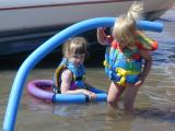 Taya and Kaelynplay in the water