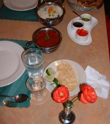 Zaroka Indian Restaurant Lamb Vindaloo (nearer pot) & Chutneys