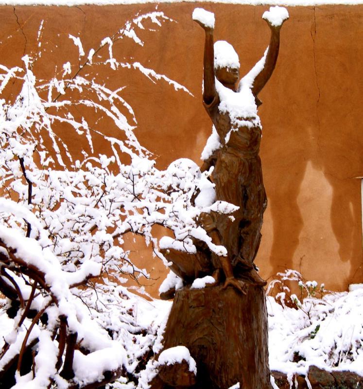 Snowy morning on Canyon Road, Santa Fe, New Mexico, 2003