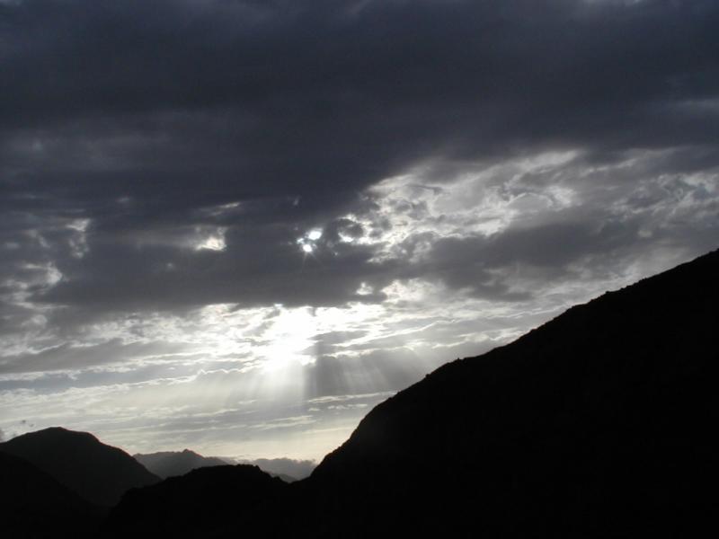 Sunlight piercing through the Clouds