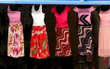 Dresses outside a shop on Broadway