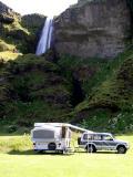 Camping near Seljalandsfoss falls