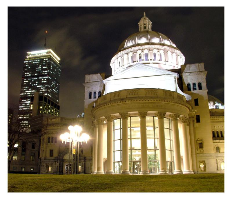 Christian Science Center & The Pru at night
