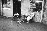 Old Lady Feeding Dog
