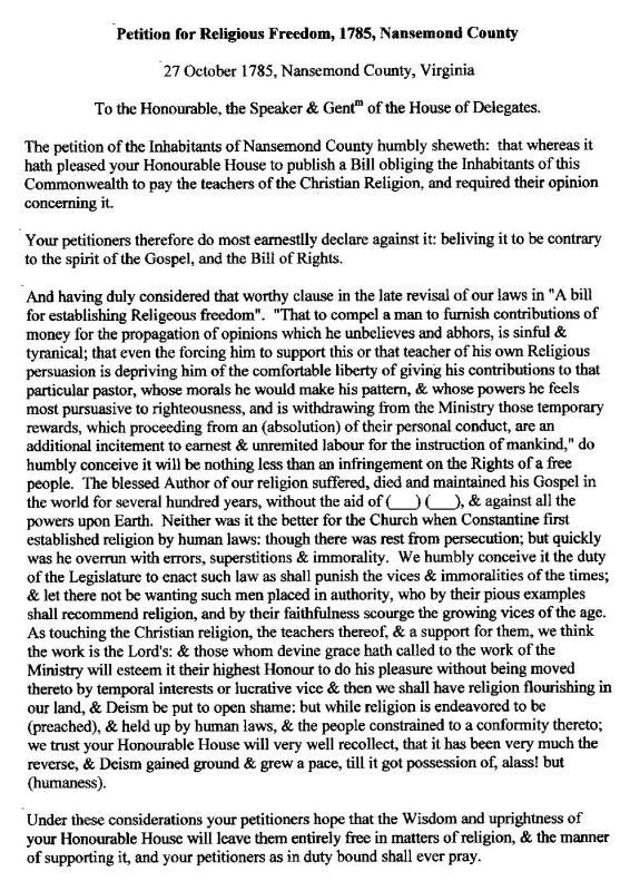 Petition for Religious Freedom 1785 - Nansemond - Thomas Boyt