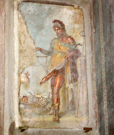 Pompeii - Fresco at entrance to House of Vettii - Priapus weighs his large phallus against bag of money - announces wealth.