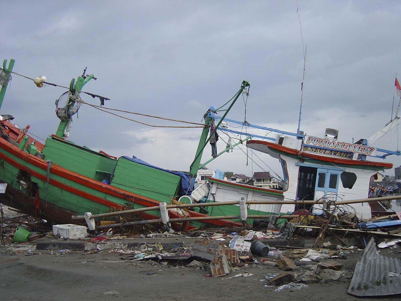 boats washed ashore