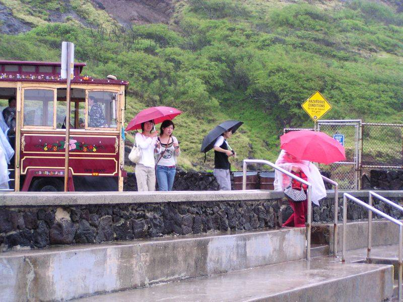 Wet tourists