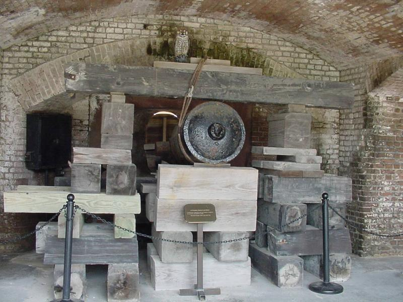 First of two civil war cannons displayed at the fort