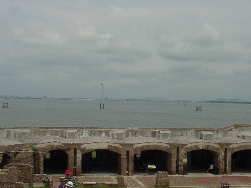 A view from Fort Sumter, including the areas where the cannon were housed