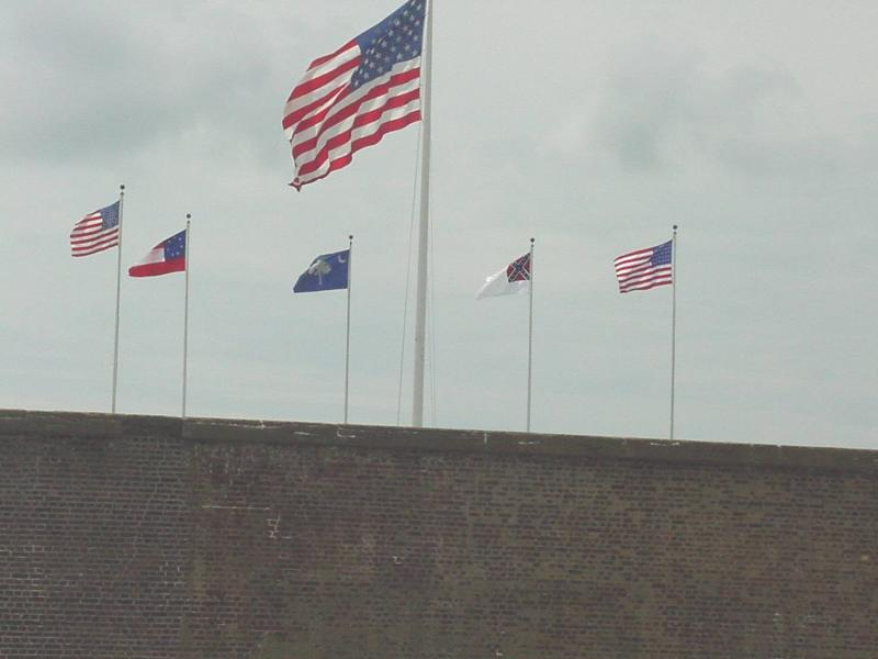 A great photo of the flags flying over the fort