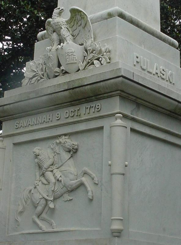 (Closer view) General Pulaski is buried beneath this monument.