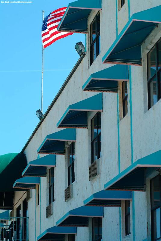 Motel  flag  and  canopies