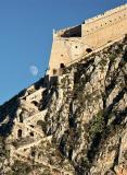 Nafplio - moon rising over Palamidi Fortress