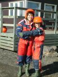 Suited up for snowmobiling atop Mýrdalsjökull (glacier), which sits on the periodically active Katla volcano