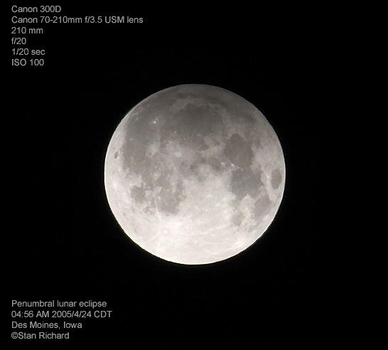 Penumbral Lunar Eclipse - 2005/4/24