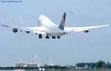 Lufthansa B747-430 D-ABVO climbing out from Miami International Airport aviation stock photo