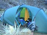 Our tent, Jackie´s legs