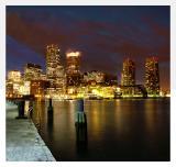 Boston Harbor Skyline - Night