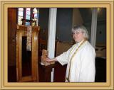 Rev. M. Lamb Greets Frimpong