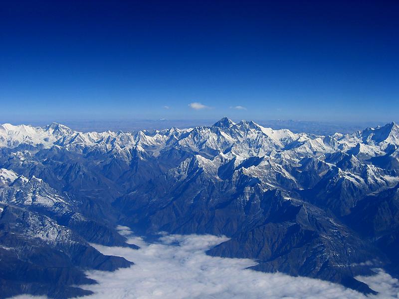 Himalayas surrounding Bhutan, Everest is in center