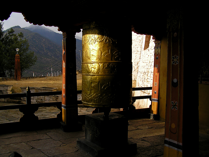 Gold prayer wheels