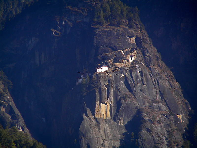Tigers Nest monastery perched on the edge of a sheer cliff.  Great for hikes.