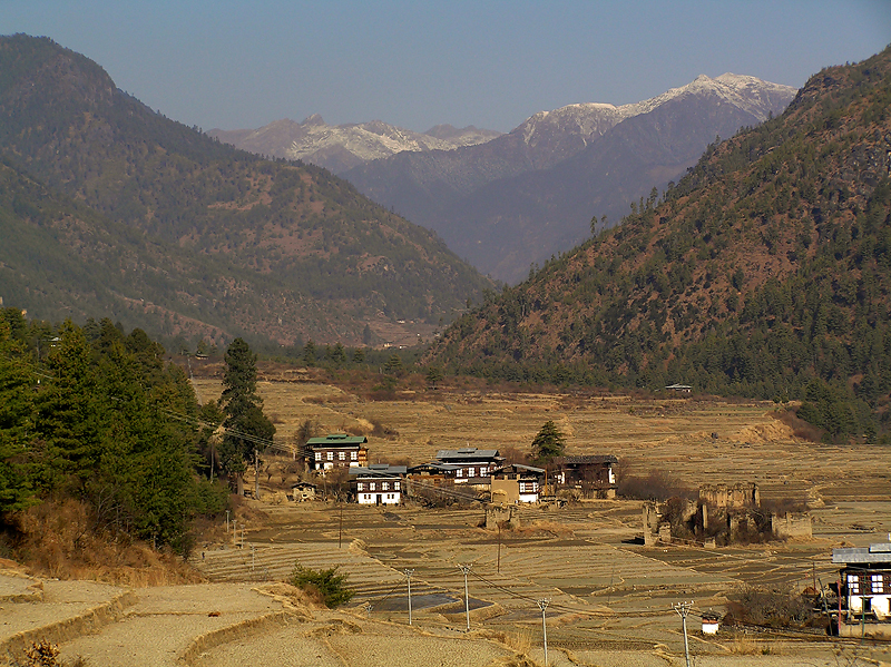 Another part of Paro Valley, all houses must be built in this Bhutanese style