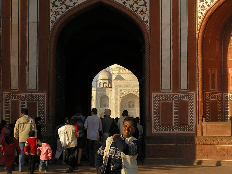 View of Taj Mahal through forecourt entrance
