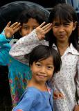 Alue Bilie, Sumatra, Indonesia -young girls salute in their best form