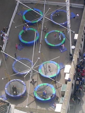 Trampolines on top of the Aquarium Building
