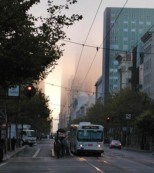 Foggy Market St. sunrise