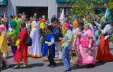 anime characters in cherry blossum parade