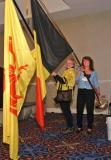 Jamie Langlie and Janet Crowe with Belgian flags