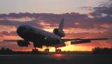 DC10 landing sunset aviation stock photo #SS9921