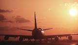 B747 taxi sunset aviation stock photo #SS9920-7