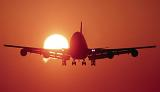 B747 landing sunset aviation stock photo #SS9930L