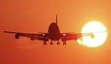 B747 landing sunset aviation stock photo #SS9931L