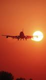 B747 landing sunset aviation stock photo #SS9931p