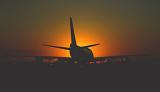 B747 taxiing sunset aviation stock photo #SS9939