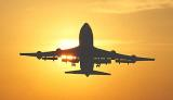 B747 takeoff sunset aviation stock photo #SS9942L