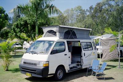 Our $1/day campervan -- pretty sweet!