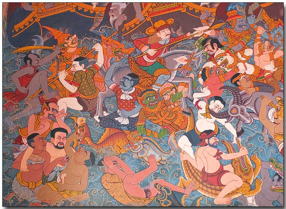 Wat Hua Lampng - graphic on inside temple wall 2