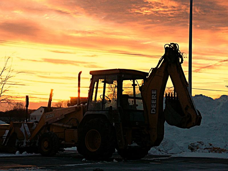 sunset and snowpile ~ January 26th
