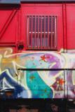 Graffiti on red wagon