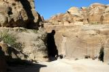 The entrance to the 1.2 km long Siq, a narrow cleft formed by the moutain splitting