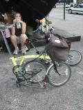 Time's-Up member Judy's sharp-looking, yellow Brompton in it's parked configuration