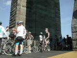 On The Brooklyn Bridge's viewing platform, NYC veteran cyclist Danny Lieberman explains to a visiting out-of-town rider that ...It's all down hill from here!