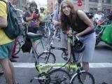 Judy and her Brompton at the Festival