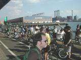 The group stops along the East Side Bikeway in order to enjoy the view